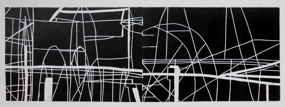 Stahl 4, Holzschnitt Unikat, Handabzug, 21 x 60, 2016