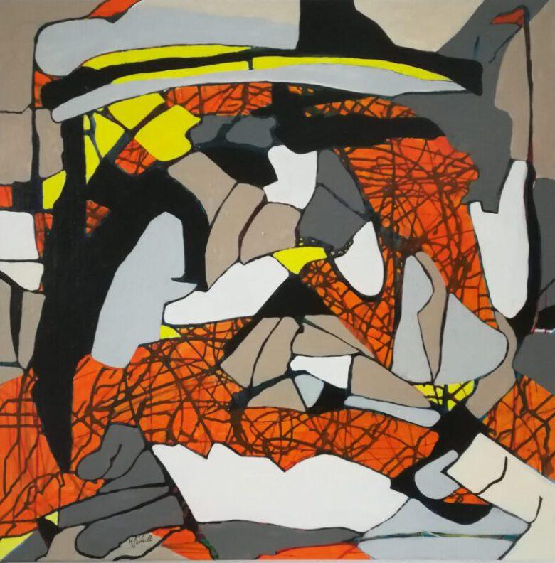 Zyklus Von oben betrachtet No 5, Acryl, 80 x 80, 2021