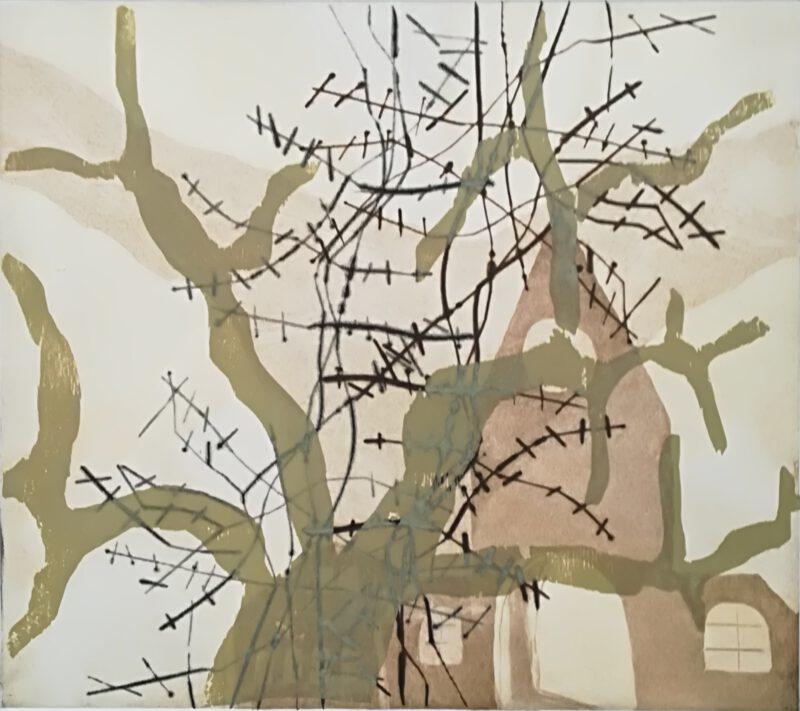 Illusion 2, Holzschnitt auf Radierung, 1 Ex., 32 x 36, 2018
